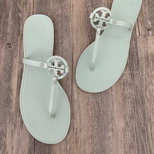 Tory Burch Mini Miller Flat Logo Mint Sandal 11